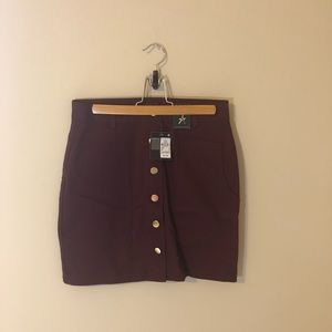 Primark Burgundy Button Up Skirt